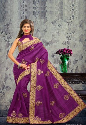 Diffusion Divine Violet Embroidered Saree