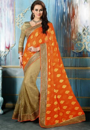Diffusion Elegant Beige And Orange Embroidered Saree