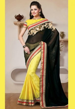 Diffusion Elegant Black And Yellow Embroidered Saree