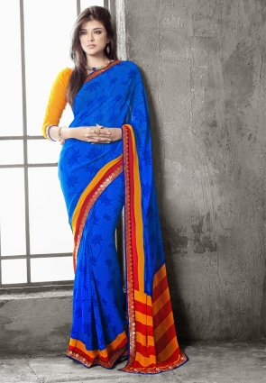 Diffusion Elegant Blue Embroidered Saree