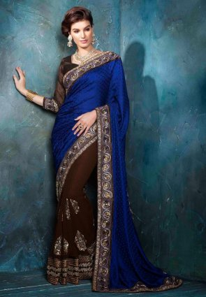 Diffusion Elegant Blue And Brown Embroidered Saree