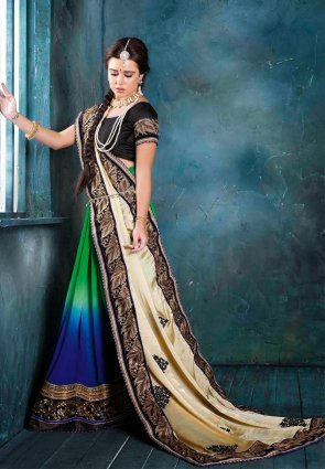 Diffusion Elegant Blue And Green Embroidered Saree