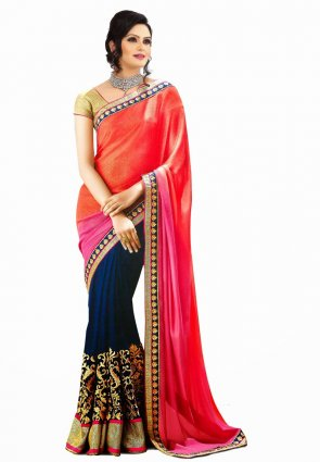 Diffusion Elegant Coral And Steel Blue Embroidered Saree