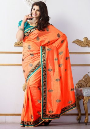 Diffusion Elegant Deep Deep Orange Embroidered Saree