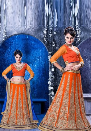Diffusion Elegant Deep Orange Lehenga Choli