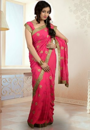 Diffusion Elegant Fuchsia Embroidered Saree