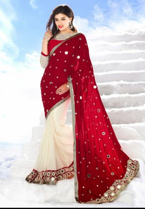 Diffusion Elegant Maroon And Off White Embroidered Saree