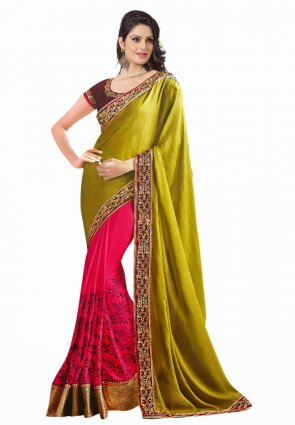 Diffusion Elegant Mehendi Green And Pink Embroidered Saree