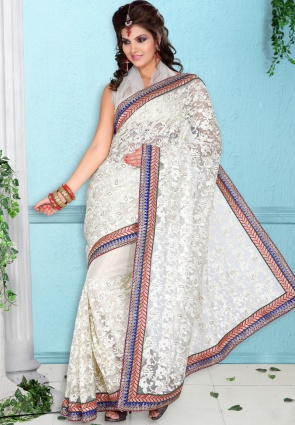Diffusion Elegant Off White Embroidered Saree