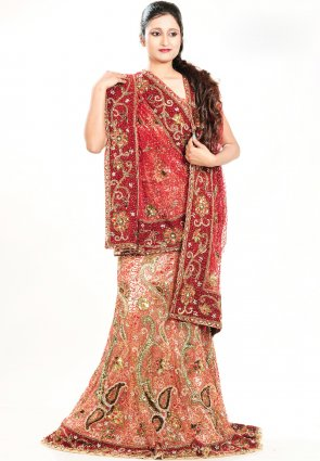 Diffusion Elegant Pale Red Chaniya Choli