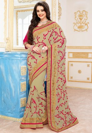 Diffusion Enigmatic Beige Embroidered Saree