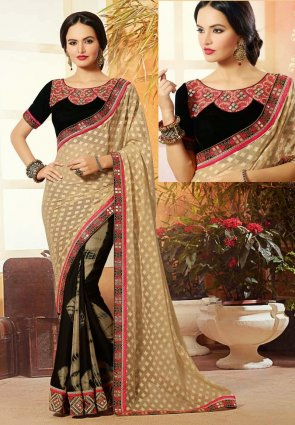 Diffusion Enigmatic Beige And Black Embroidered Saree