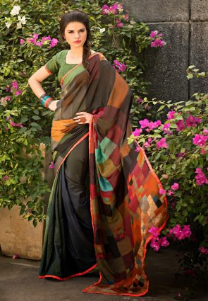 Diffusion Enigmatic Black And Mehendi Green Printed Saree