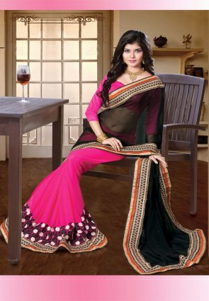 Diffusion Enigmatic Black And Pink Embroidered Saree