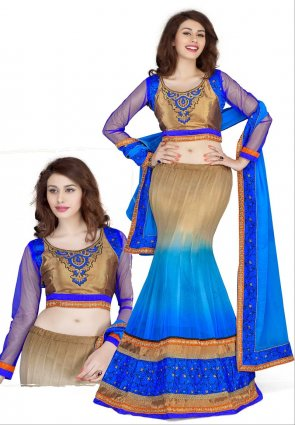 Diffusion Enigmatic Brown And Deep Blue Lehenga Choli