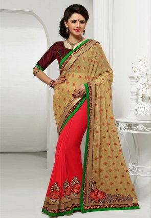 Diffusion Enigmatic Buttercream And Fuchsia Embroidered Saree