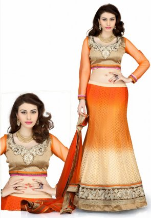Diffusion Enigmatic Buttercream And Orange Lehenga Choli