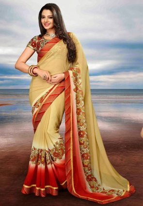 Diffusion Enigmatic Cream Embroidered Saree