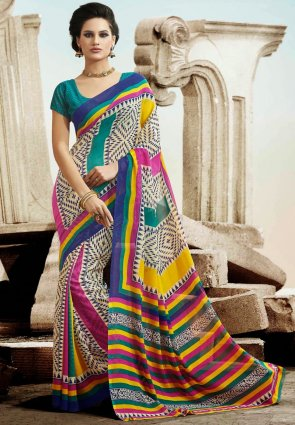 Diffusion Enigmatic Cream And Yellow Printed Saree