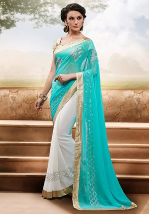 Diffusion Enigmatic Deep Off White And Cyan Blue Embroidered Saree