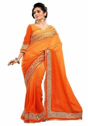 Diffusion Enigmatic Deep Orange And Orange Embroidered Saree