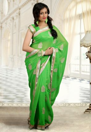 Diffusion Enigmatic Lime Green Embroidered Saree