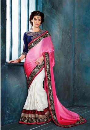 Diffusion Enigmatic Off White And Pink Embroidered Saree