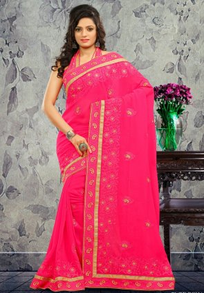 Diffusion Enigmatic Pink Embroidered Saree