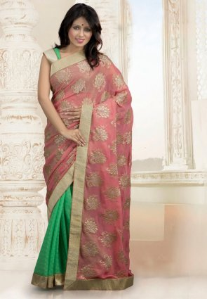 Diffusion Enigmatic Rose Pink And Pale Green Embroidered Saree
