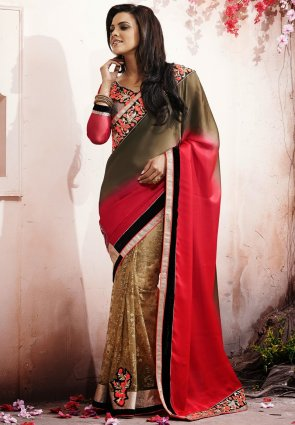 Diffusion Ethnic Beige, Brown  And  Red Embroidered Saree