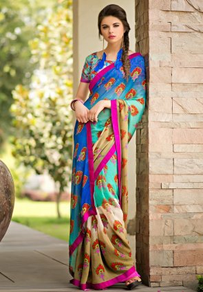 Diffusion Ethnic Beige And Cyan Blue Printed Saree
