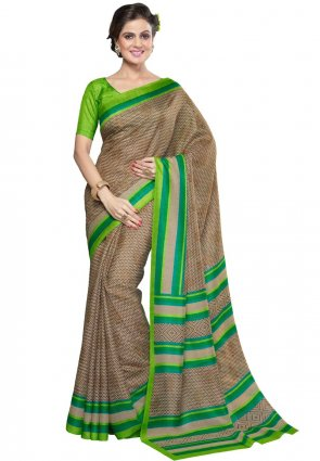 Diffusion Ethnic Beige And Lime Green Printed Saree
