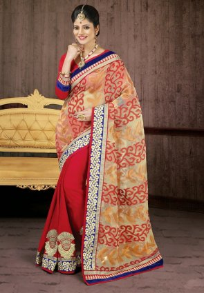 Diffusion Ethnic Beige And Red Embroidered Saree