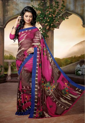 Diffusion Ethnic Brown And Magenta Embroidered Saree