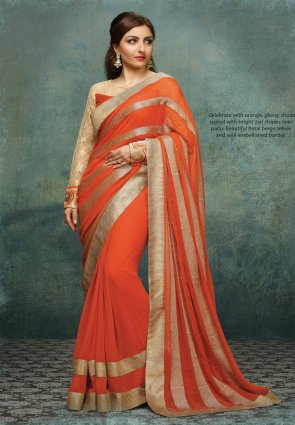 Diffusion Ethnic Coral Embroidered Saree