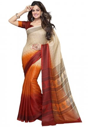 Diffusion Ethnic Cream And Orange Printed Saree