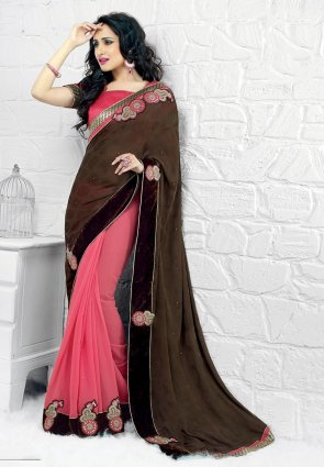 Diffusion Ethnic Deep Deep Pink And Brown Embroidered Saree