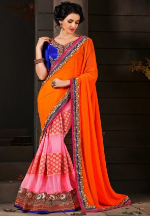 Diffusion Ethnic Deep Orange And Deep Pink Embroidered Saree