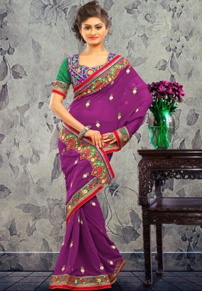Diffusion Ethnic Deep Purple Embroidered Saree