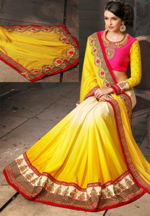 Diffusion Ethnic Ivory And Yellow Embroidered Saree