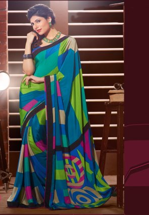 Diffusion Ethnic Lime Green And Steel Blue Printed Saree