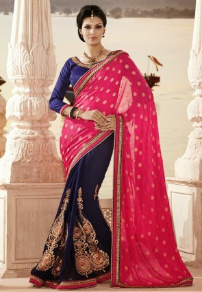 Diffusion Ethnic Navy Blue  And  Pink Embroidered Saree