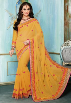 Diffusion Ethnic Pale Orange Embroidered Saree