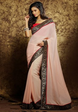 Diffusion Ethnic Peach Puff Embroidered Saree