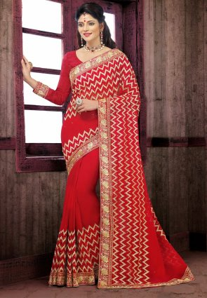 Diffusion Ethnic Red Embroidered Saree