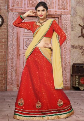 Diffusion Ethnic Red Lehenga Choli