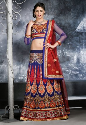 Diffusion Ethnic Royal Blue Lehenga Choli