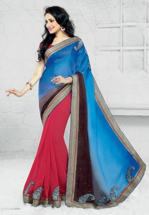 Diffusion Exotic Azure Blue And Red Embroidered Saree