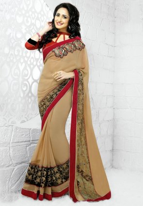Diffusion Exotic Beige Embroidered Saree