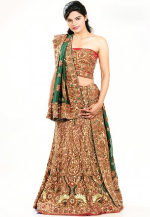 Diffusion Exotic Bottle Green Chaniya Choli